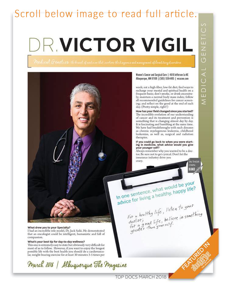 2018 Top Medical Genetics Dr Victor Vigil